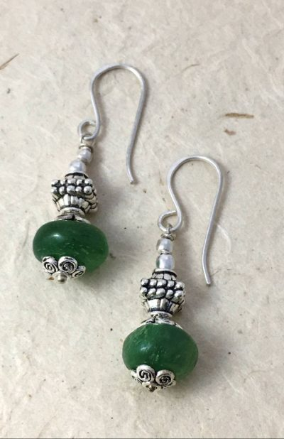 Handcrafted Fair Trade bead earring from Nepal.