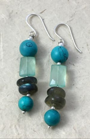 Handcrafted Fair Trade white metal stone earrings from Nepal.