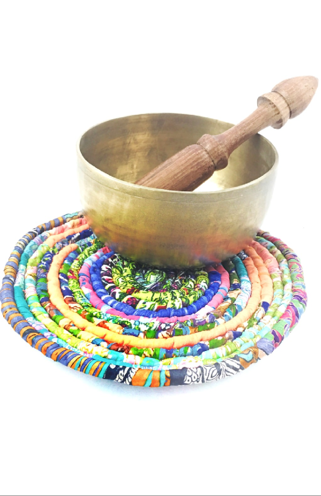 Fair Trade recycled silk coil trivet from Nepal, handcrafted