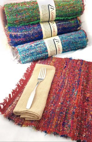 Handcrafted Fair Trade recycled silk placemats from Nepal.