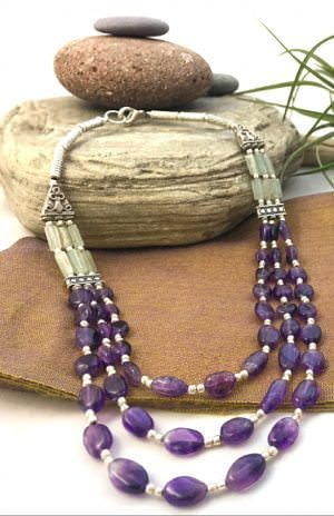 Fair Trade white metal bead necklace from Nepal, handcrafted jewelry